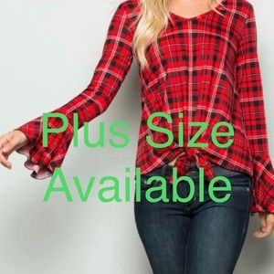 RED PLAID ACCENT BELL SLEEVE